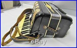 Vintage Italy Chrysler Da Vinci 41 120 3 Black Full Size Piano Accordion & Case