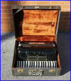 Vintage Pancordian Panjet 45 Black Piano Accordion & Hard Case