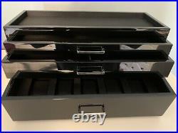 WOLF Meridian Collection Modular Watch Box Storage Case PIANO BLACK