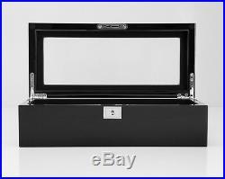 Wolf Designs Savoy 5 Piece Watch Box Storage Chest Organizer Case Piano Black